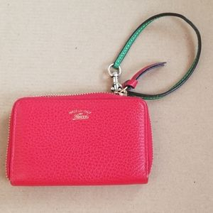 Authentic Gucci Zip Card Case Red Leather